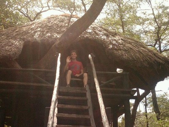 Sikumi Tree Lodge: Me sitting by the entrance to my treehouse room