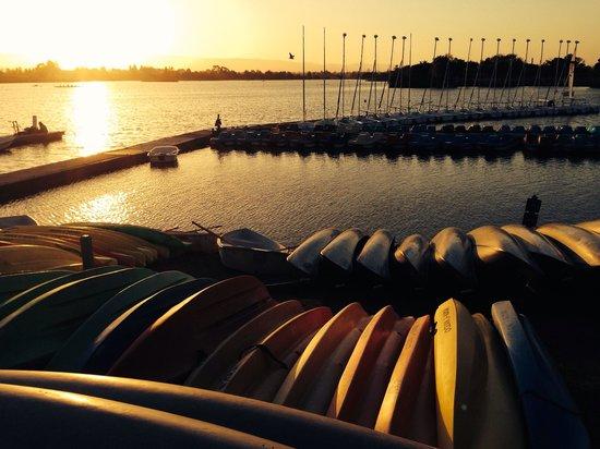 Shoreline Lake Boathouse & American Bistro: Boating at sunset