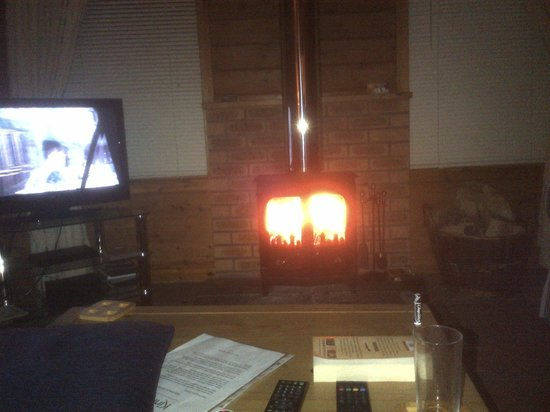 Kinnaird Woodland Lodges: On the couch wood burner working well