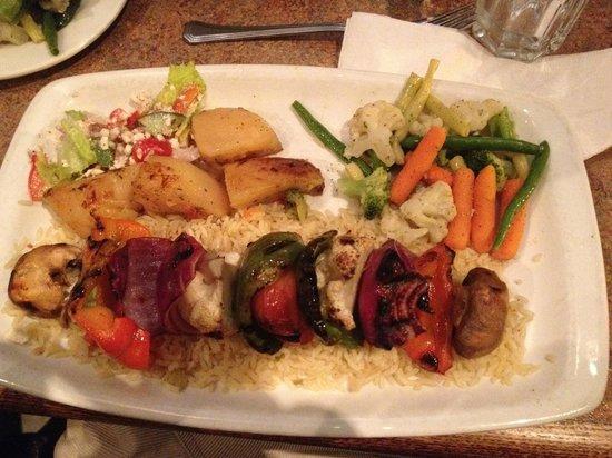 The Greek Islands Mediterranean Grill and Bar : Grilled Vegetarian Shish Kebob - $14.99