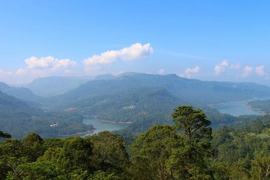 View of sleeping Hanuman (mountain) from the Temple ...