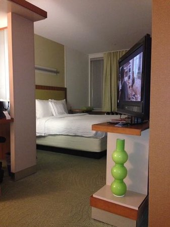 SpringHill Suites Ashburn Dulles North : TV swivels to face sofa and bed