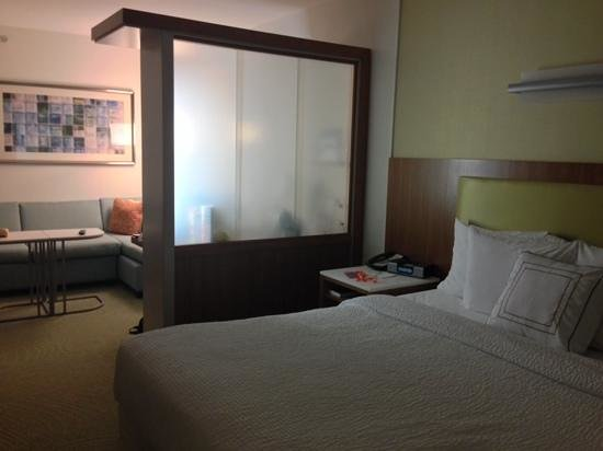 SpringHill Suites Ashburn Dulles North : partition, desk and chair on other side.