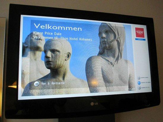 Thon Hotel Kirkenes: Welcome screen on TV!