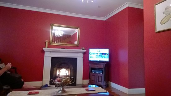 Aldermere Estate Luxury Accommodation: Cosy fireplace and red walls, whats not to love