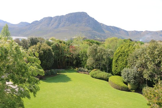 Avondrood Guest House: View of the back garden towards the mountains.