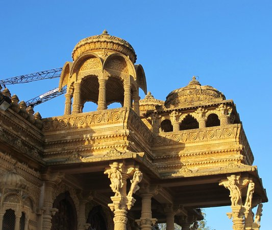 Sanatan Temple: Detail with crane in b ackground