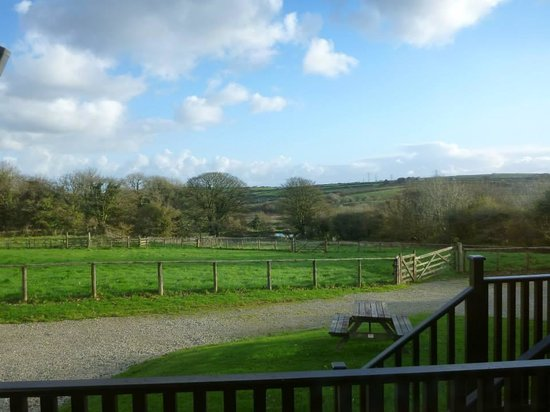 St. Tinney Farm Holidays: View from inside lodge - sitting room