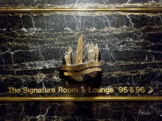 The Signature Room at the 95th: Sign at ground floor lift entrance