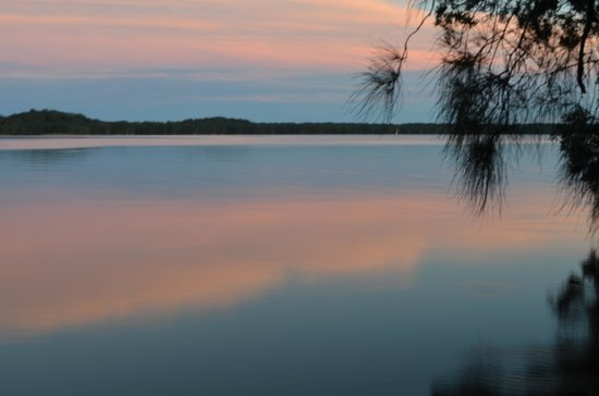 NRMA Myall Shores Holiday Park: Sunset over the lake.