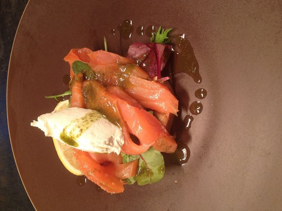 Wheatsheaf Inn : Home smoked salmon horseradish cream cheese and basil oil