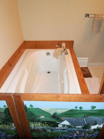 Carol's Garden Inn: Whirlpool tub with cute divider