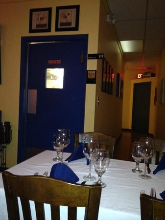 Blue Windows French Bistro : View of restrooms and kitchen from our table