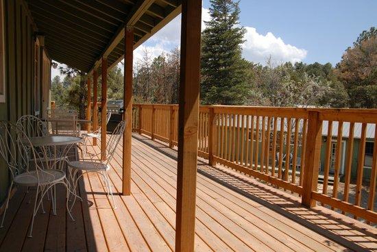 La Junta Guest Ranch: Deck at Sierra Blanca and Capitan Lodges
