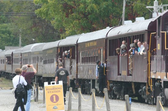 Great Smoky Mountains Railroad: Train coming into station