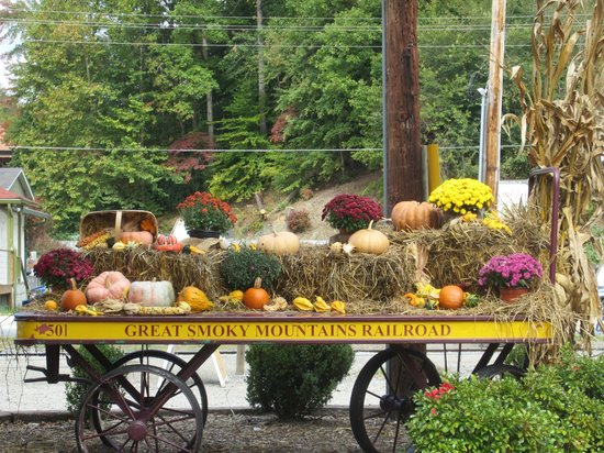 Great Smoky Mountains Railroad: Decorations at station