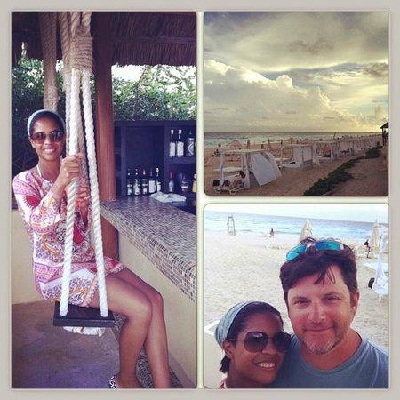 Live Aqua Cancun All Inclusive: Swing bar, beach and beach cabanas.