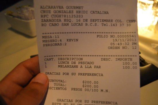 Alcaravea Gourmet: La cuenta (dos platos, uno de 3 tiempos y uno de 2)