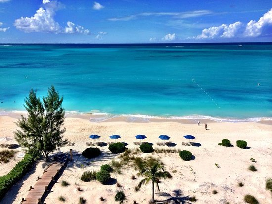 The Venetian on Grace Bay: Beach view from 701 Penthouse deck.