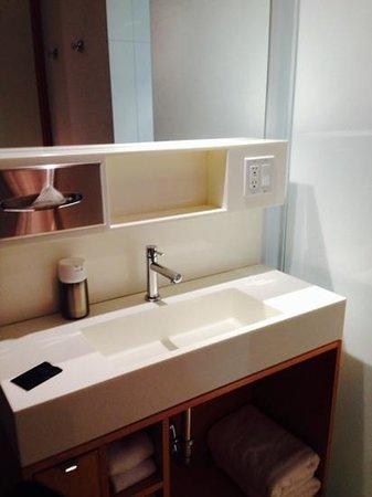 The Beverley Hotel: bathroom vanity in the main area of the room.
