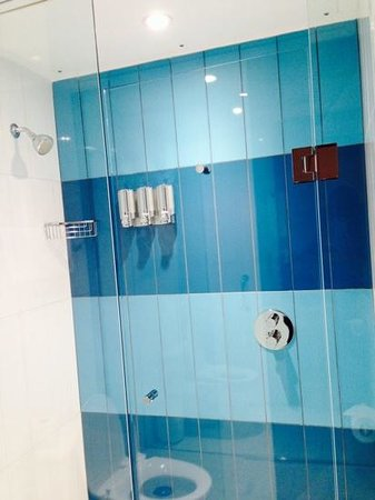 The Beverley Hotel: Modern shower with built-in soap/shampoo/conditioner.