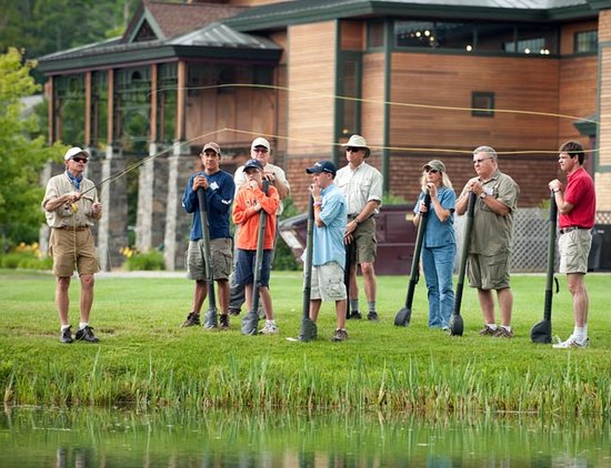 Orvis Fly Fishing School: Head Fly Instructor Truel Myers demonstrates to a group of students