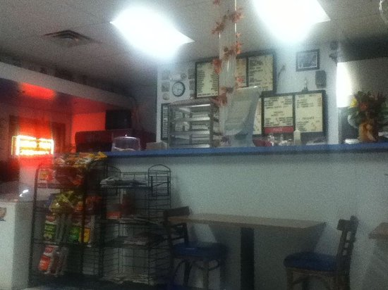 Fall River House of Pizza: View of menu from a table