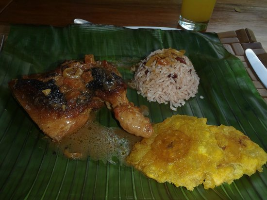 Pacuare Lodge: lunch a typical costa rican chicken in cocunt milk with gallo pinto rice and beans and a banana