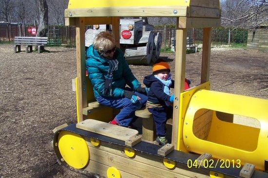 Linvilla Orchards: Driving a bulldozer