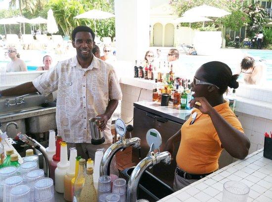 Sandals Regency La Toc: Main pool bar staff