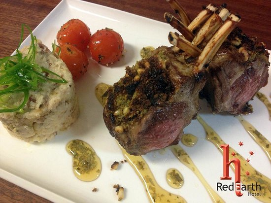 RedEarth Restaurant: Lamb Rack (Medium) crusted w/ pesto & pine nuts