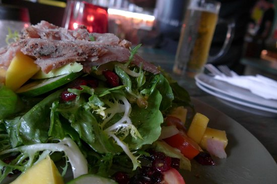 Red Tomato: A fantastic smoked tuna whatchamacallit salad. Refreshing beer in the background