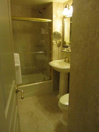 The Iroquois New York: Small bathroom, no exhaust vent for shower steam