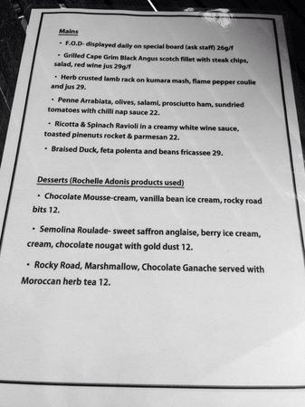 The Loungeroom on James: New main menu (dinner thu- sat)