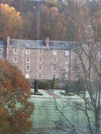 New Lanark Mill Hotel: Our view from the New Harmony Suite. Day after our wedding.  Lovely views and great scenery.