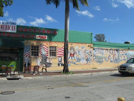 Little Havana: Mural alonside sandwich bar
