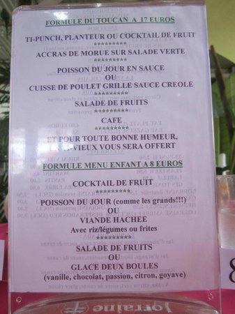 Le Toucan : menu du toucan / menu enfant