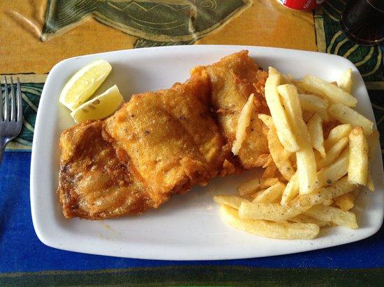Salty Sea Dog: Hake and chips. Yum!