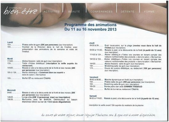 Novotel Thalassa Oleron St Trojan Hotel : Programme de la seamine