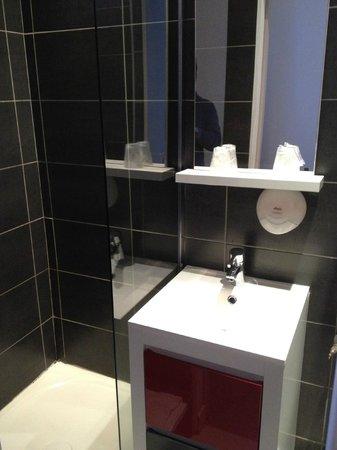 Hotel Le Cassiden : Il manque les toilettes à droite de la photo, assis les genoux touchent le mur!!