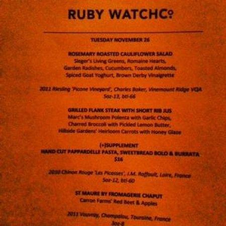 Ruby Watchco : Our Menu