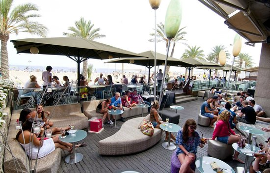 Terraza En La Playa De La Barceloneta Opium Restaurant