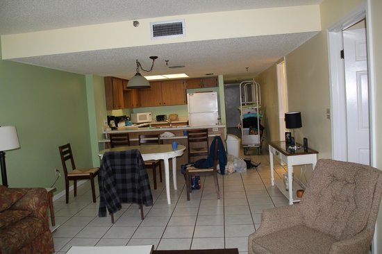 Beach Place Condos at John's Pass Village : View of our condo from the livingroom through the dining area and kitchen