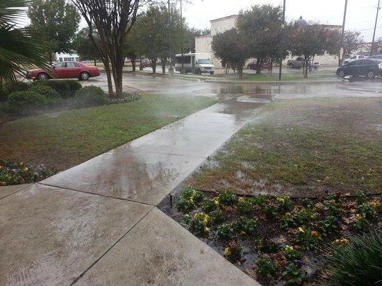 Red Roof Inn San Antonio West Sea World: Sprinklers still on