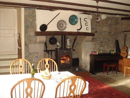Manoir de Kercadic : Feu de cheminée salle de restauration