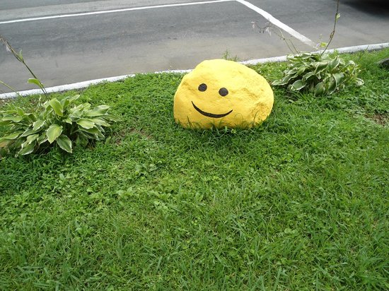 The Cub Motel: Smiley rock in front roadside