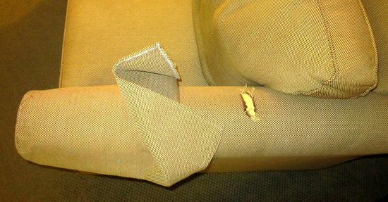 Extended Stay America - Kansas City - Overland Park - Metcalf: Torn fabric on comfy chair