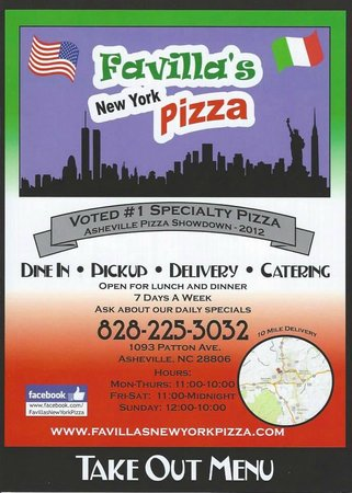 Favilla's New York Pizza: The front of our menu