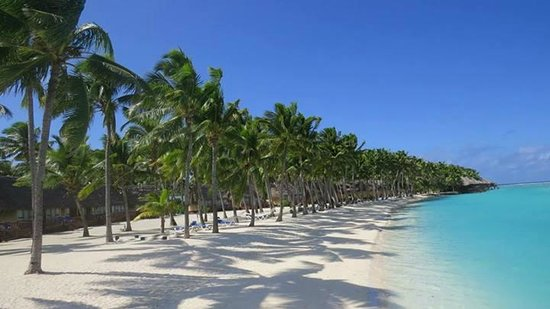 Aitutaki Lagoon Resort & Spa: the lagoon with the bungalows and over water bungalows