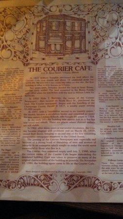 The Courier Cafe: Menu
